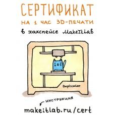 Подарочный сертификат на 1 час 3D-печати