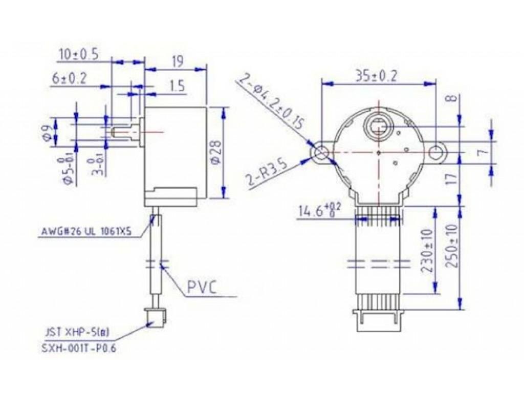 Шаговый двигатель с редуктором, 5В