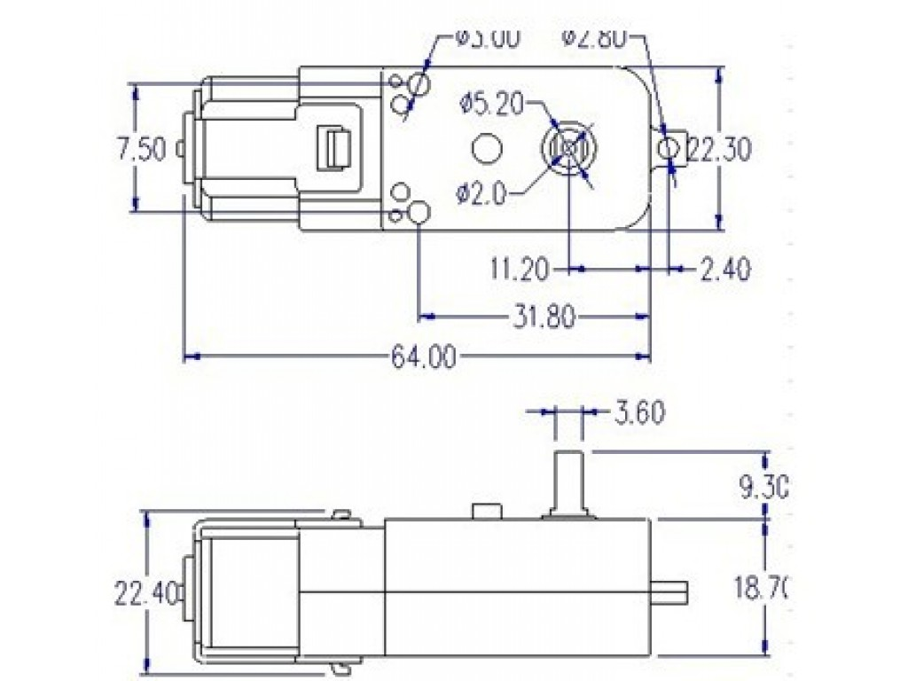 TT-мотор с редуктором 1:120, CH1