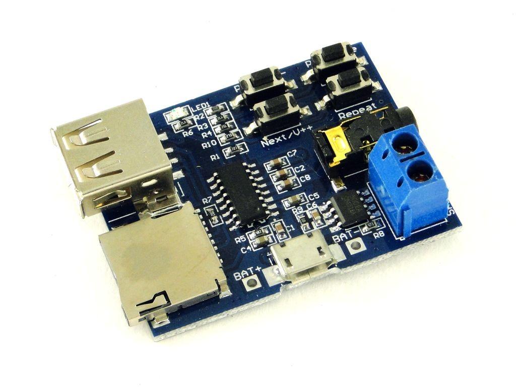 Звуковой модуль с SD картой, MP3, с разъемами
