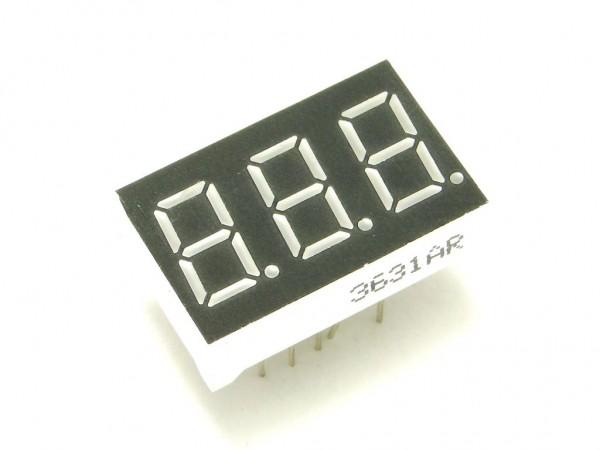 Индикатор семисегментный - три цифры, красный, 14мм