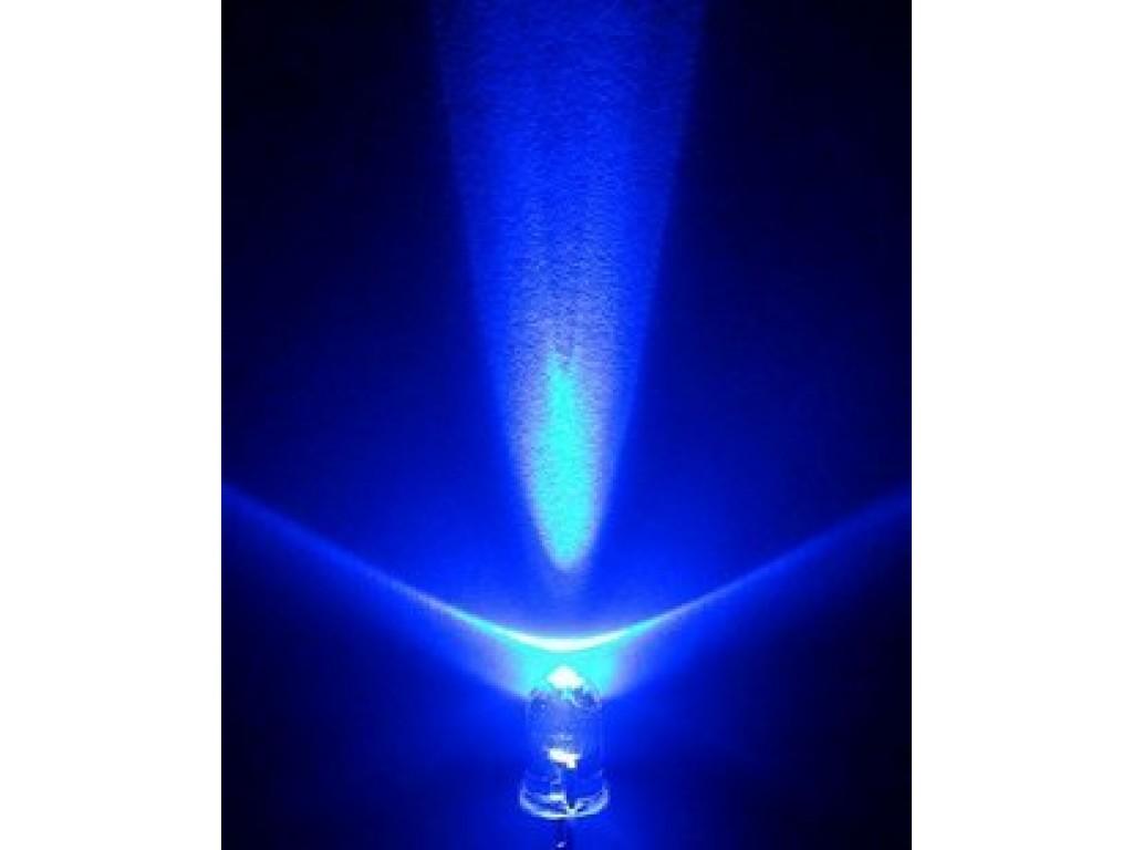Светодиод синий, 5мм, прозрачная линза (5 штук)