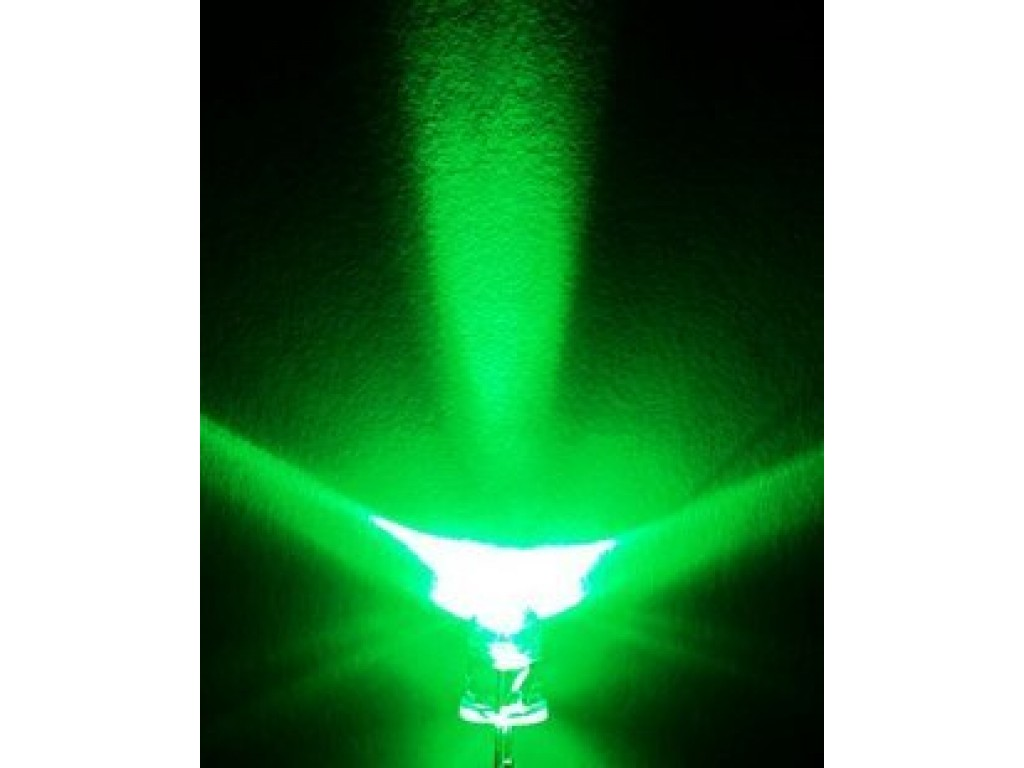 Светодиод зеленый, 5мм, прозрачная линза (5 штук)