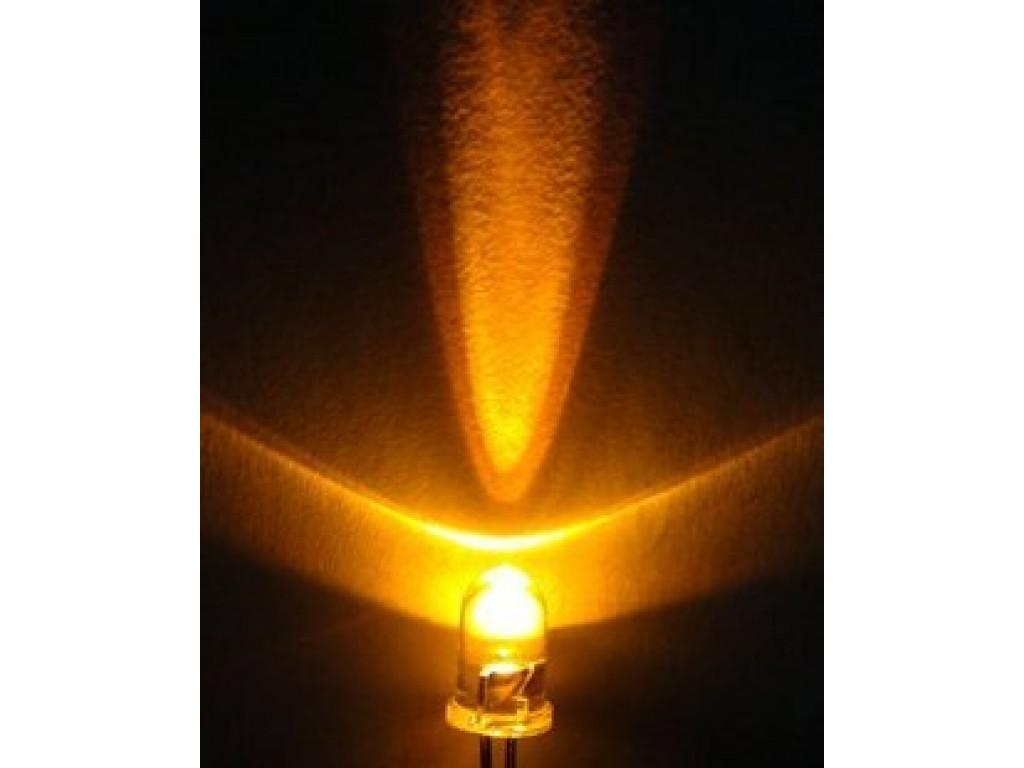 Светодиод оранжевый, 5мм, прозрачная линза (5 штук)