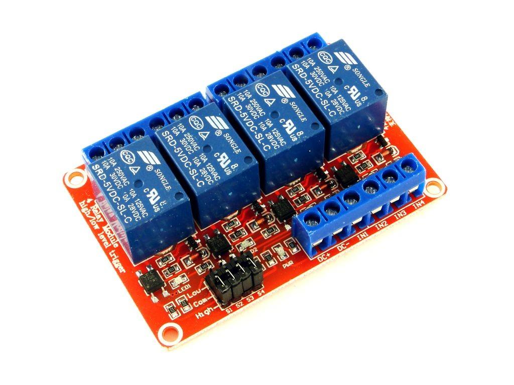Релейный модуль с выбором уровня и опторазвязкой, 4-канальный