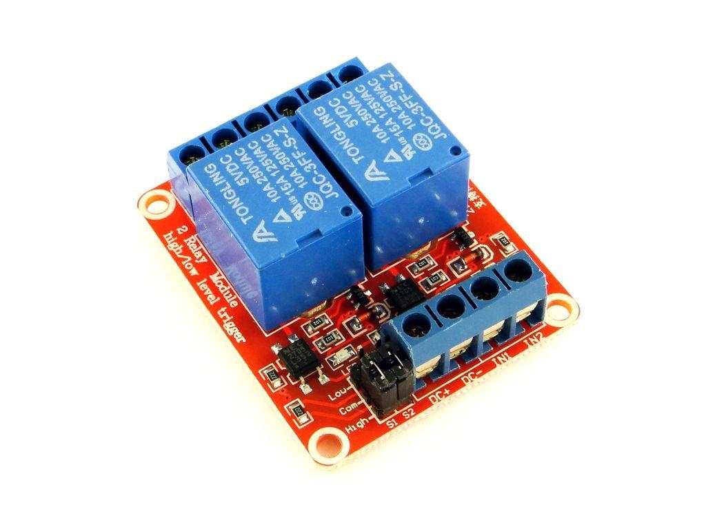Релейный модуль с выбором уровня и опторазвязкой, 2-канальный