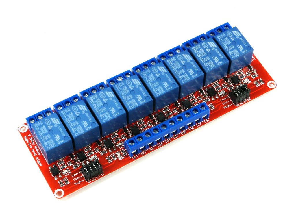 Релейный модуль с выбором уровня и опторазвязкой, 8-канальный