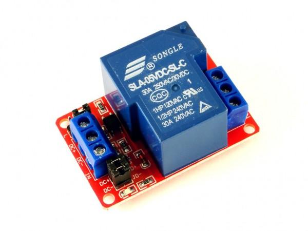 Релейный модуль с выбором уровня и опторазвязкой 30А, 1-канальный