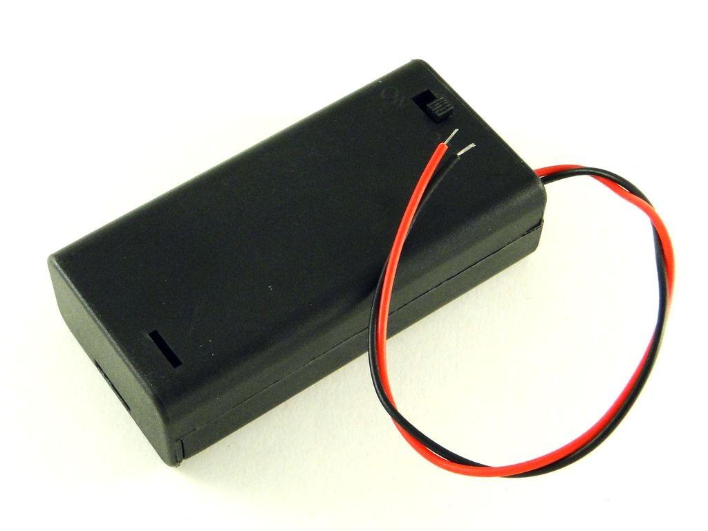 Корпус для двух батарей AA, закрытый с выключателем