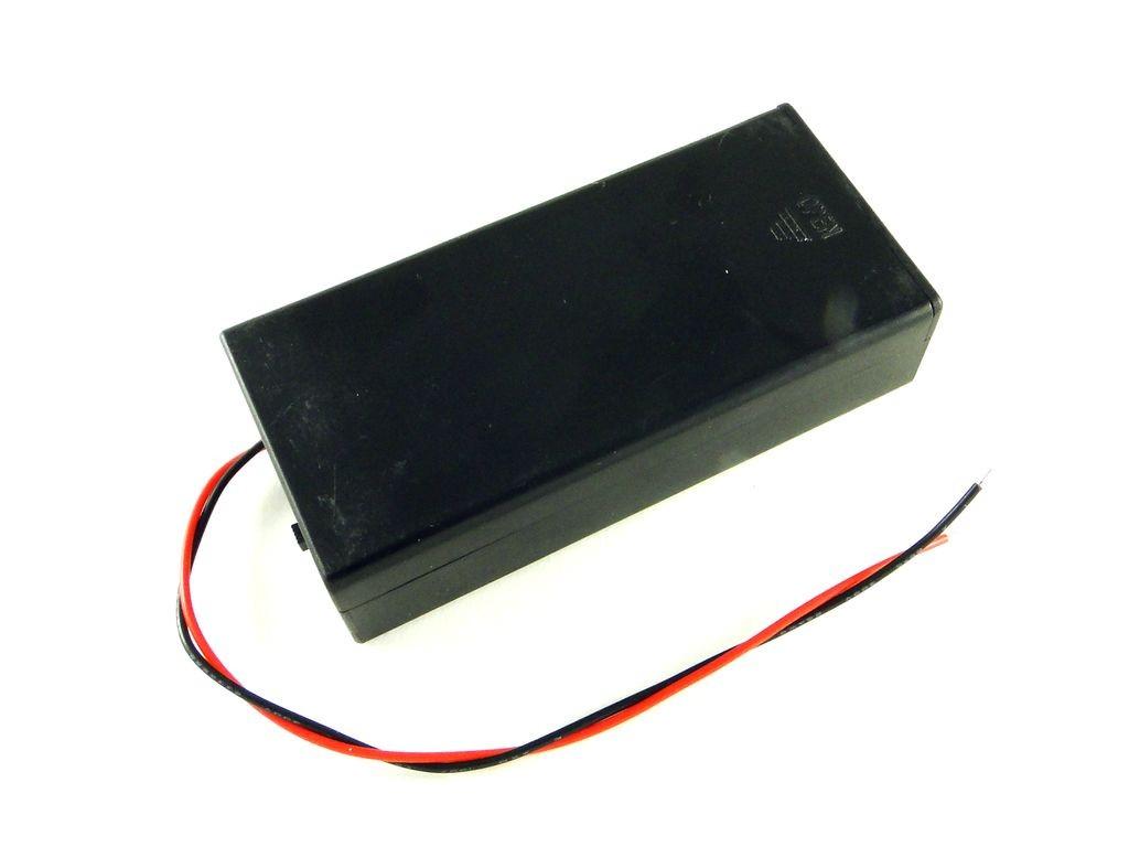 Корпус для двух аккумуляторов 18650, закрытый с выключателем