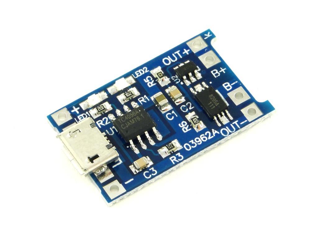 Модуль заряда одного аккумулятора Li-Ion, с защитой от переразряда, 1А