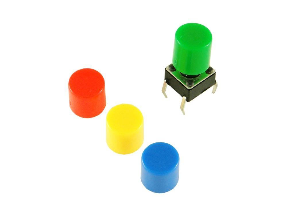 Кнопка с цветным колпачком 6x6