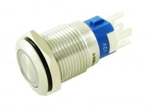 Панельная кнопка с подсветкой и фиксацией, металл, D=16мм