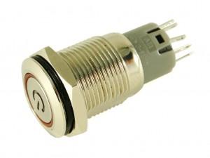 Панельная кнопка с подсветкой и фиксацией CH6, 16мм