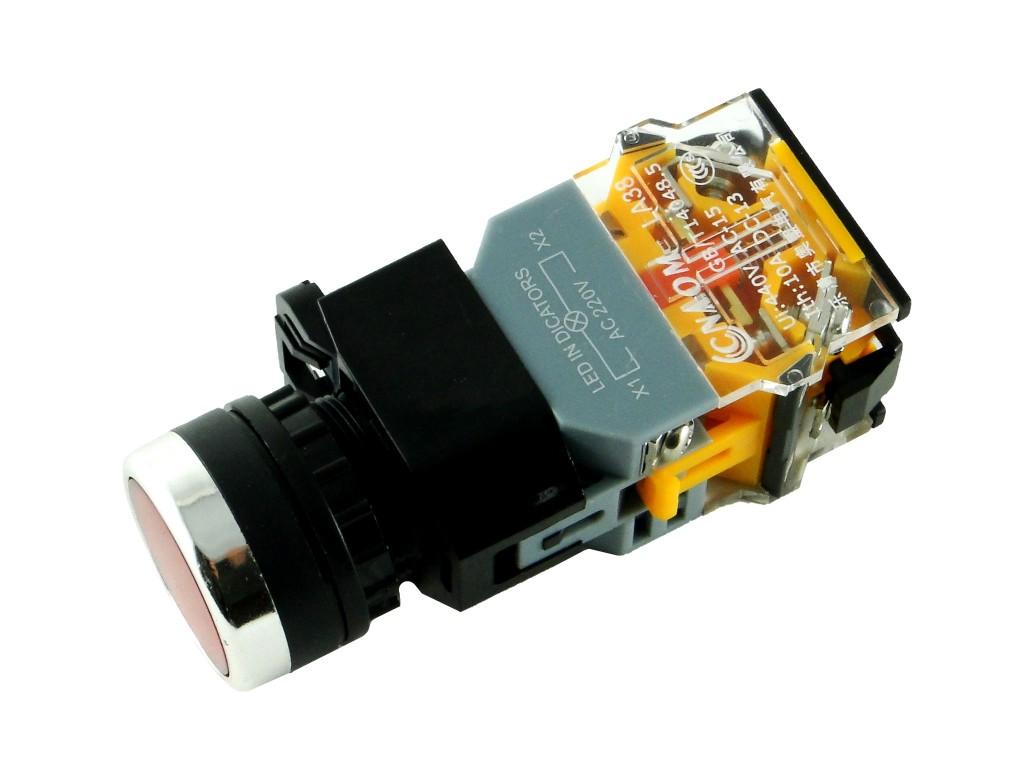 Панельная кнопка с подсветкой, D=22мм
