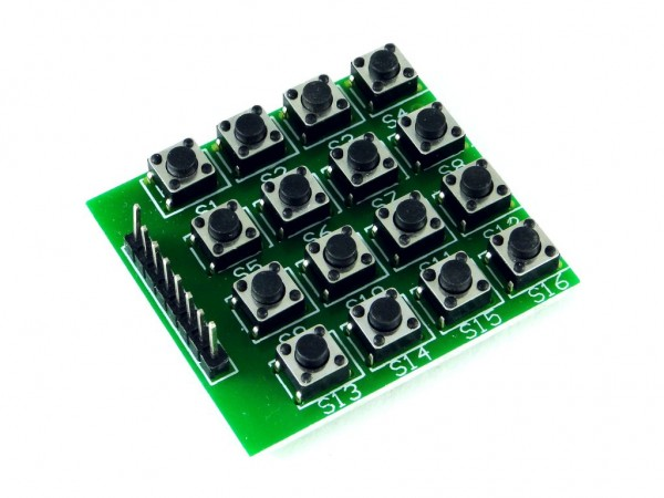 Клавиатура с тактовыми кнопками, 4x4